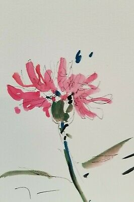 """JOSE TRUJILLO MODERN Flower Pink ABSTRACT Watercolor PAINTING SIGNED - 6X9"""""""