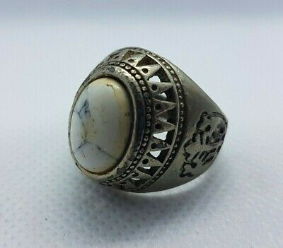 Rare Ancient Roman Ring Metal Turquoise Stone Antique Authentic Very Stunning