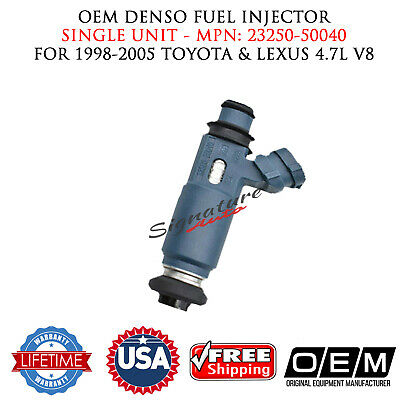 8x OEM DENSO FUEL INJECTORS FOR 98-05 Toyota and Lexus 4.7L V8 Part# 23250-50040