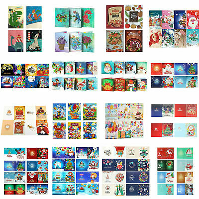 4/6/8pcs 5D Christmas Greeting Cards Diamond Painting Embroidery Xmas DIY Gifts