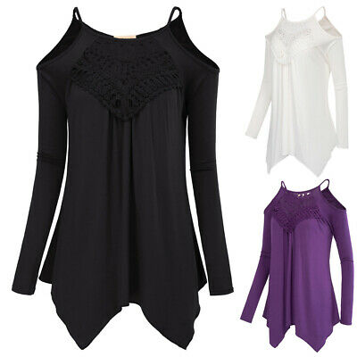 Womens Irregular Hem Casual Sexy Loose Fir Long Sleeves Cold Shoulders Tops