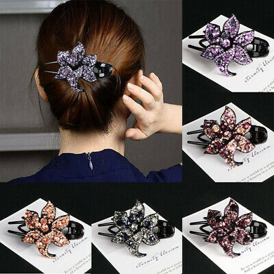 Clips Accessories Crystal Pins Flower Comb Hair Slide Hairpin Grips Women's