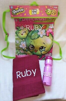BNWT Custom Bundle Shopkins Sling Bag Burgundy Towel Drink Bottle Personalised