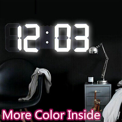 Modern Digital 3D LED Wall Clock Alarm Clock Snooze 12/24 Hour Display Home Room