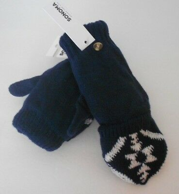 Sonoma Women's Convertable Knit Mittens Fingerless One Size Navy Blue NWT
