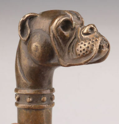 Bronze Dog Statue Old Cane Walking Stick Head Handle Accessorie Collectible