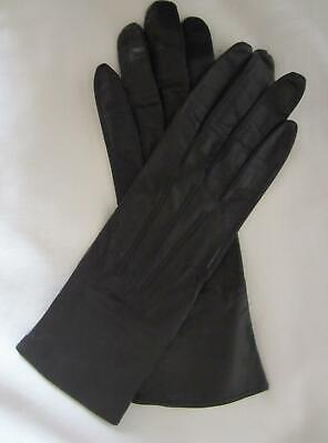 Vintage Ladies BOULTONS Leather GLOVES - Black - Wrist Length - Size 6 1/4