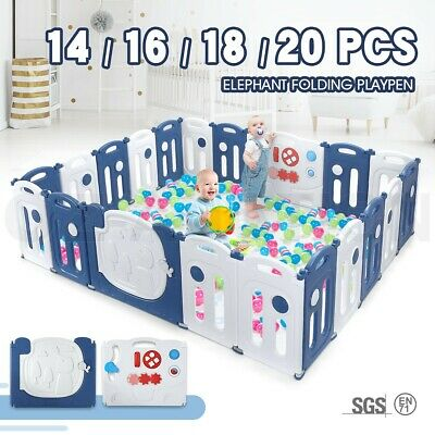 Baby Playpen Interactive Safety Gates Elephant Design w/ Drawing Board