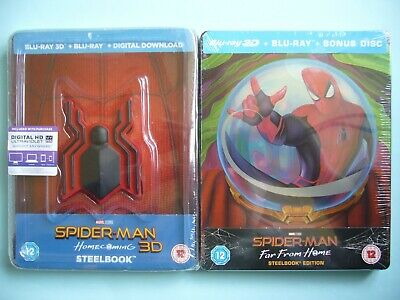 Spider-Man: Homecoming + Far From Home Limited Edit 3D/2D Blu-ray Steelbooks New