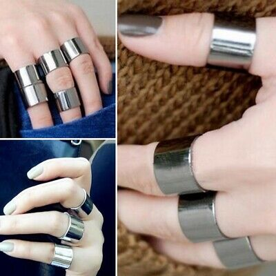 Men Women Silver Wide Band Stainless Steel Ring Big Cool Band Polished Flat Ring