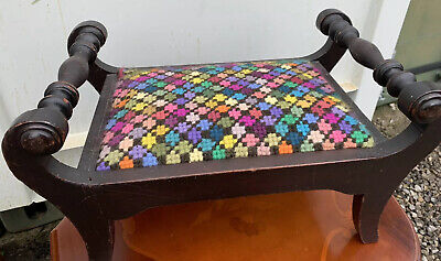 Pretty Vintage Mahogany Foot Stool With Tapestry Seat Edwardian