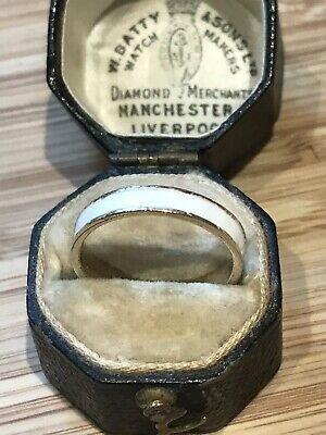 Antique White Enamel Buckle Ring 9ct Yellow Gold Engraved.
