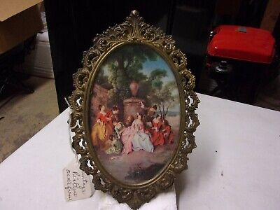 Vintage Ornate Metal Brass Oval Picture Frame With Picture