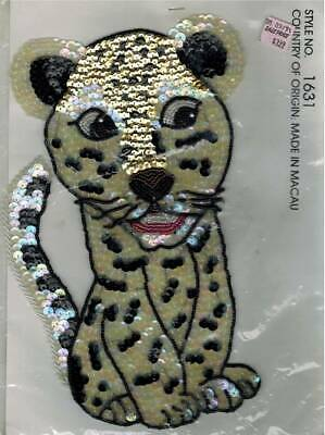 "12/"" LARGE FULL BACK SEW ON PATCH LEOPARD TIGER GOLD SEQUIN CREAM STRING"