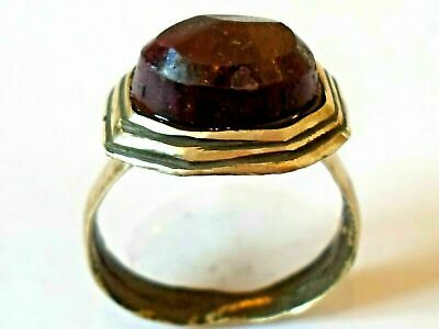 Unique Gifts,Detector Find,200-400 A.d Roman Bronze Ring With Real Ruby.polished