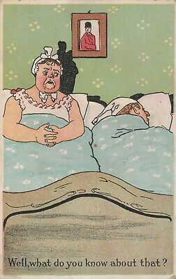 Trade Card Ponds Genuine Kidney and Liver Bitters Comic Bedroom Scene