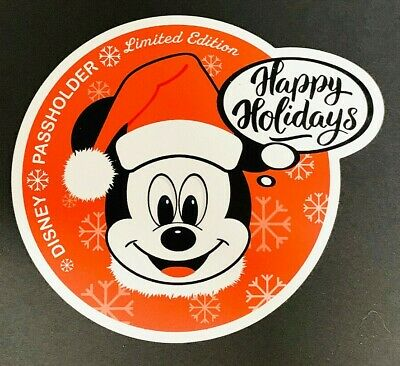 """Christmas Happy Holidays Mickey Mouse Circle Annual Passholder Car Magnet 4"""" x 4"""
