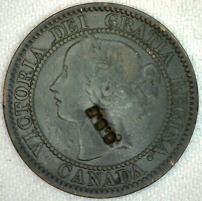 C S J Counterstamp on 1859 Canada Large Cent Coin 1c Canadian Bronze Coin