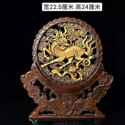 "9.44"" Old Chinese Huanghuali Wood Dynasty Palace kylin dragon Screen"