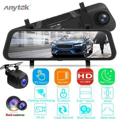 Anytek FHD 1080P Car DVR Camera Rearview Mirror Dual Lens ADAS Starlight Dashcam