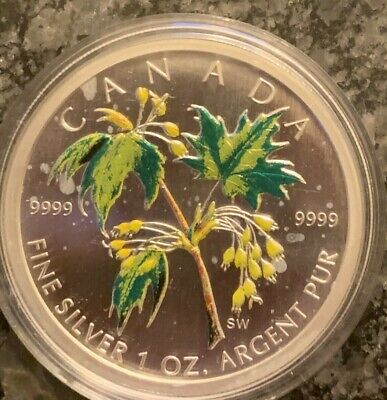 2003 Bullion $5 1oz .9999 Silver Maple Leaf SML Coloured #3-Summer Canada