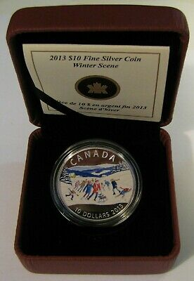 2013 'Winter Scene' Colorized Proof $10 Silver Coin .9999 Fine Silver