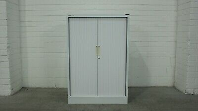 AUS/FILE Half Height Tambour Office/Garage Storage Cabinet Cream Metal 40173