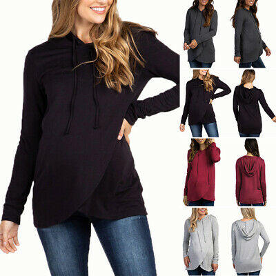 1 Pcs Womens Maternity Tops Long Sleeve Solid Color Hooded Sweater Breastfeeding