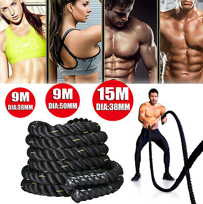 9M/15M Battle Rope 38Mm Battling Bootcamp Gym Exercise Fitness Training Workout