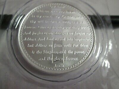 1 oz .999 fine silver Lord's Prayer Cross bullion round