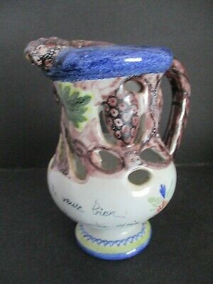 19th / EARLY 20th CENTURY FRENCH FAIENCE MOTTO WEAR PUZZLE JUG