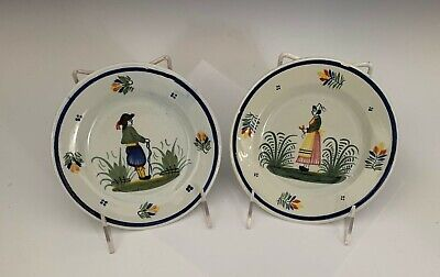 """Pair of (2) Henriot Quimper France 6"""" Plates Breton Woman and Man"""