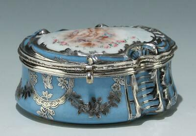 Sevres Silver Overlay Tabatiere or Jewelry Box dated 1857 DORÉ A SÈVRES