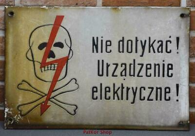 Vintage -Electricity Warning! Metal Enamel Sign /j 4687