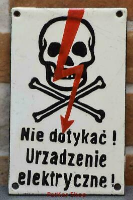 Vintage -Electricity Warning! Metal Enamel Sign /j 4679