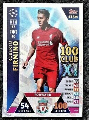 Robert Firmino 100 Club XI Football Card Topps UEFA Champions League 2018-2019