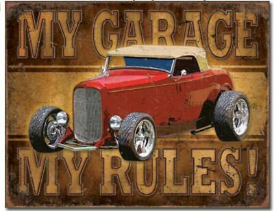 My Garage My Rules Metal Tin Sign Picture Hot Rod Shop Mechanic Bar Decor Gift