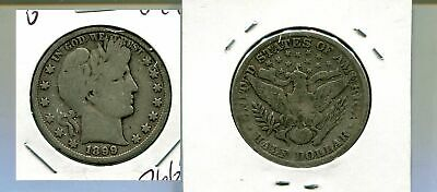 1899 P  Barber Silver Half Dollar Type Coin Very Good 7665M