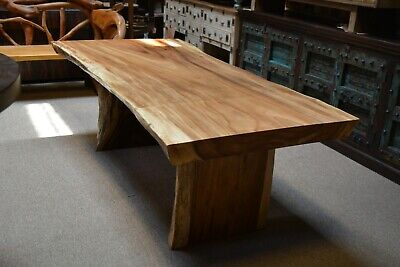 """live edge solid one slab natural dining table 84"""" long"""