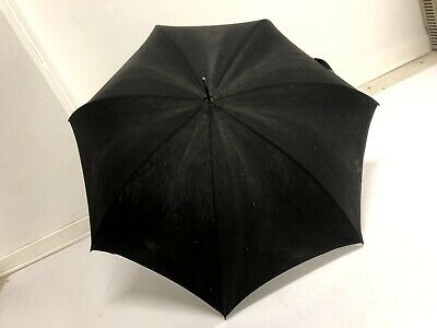 Vintage BLACK PARASOL umbrella bamboo handle antique mourning funeral antique 30