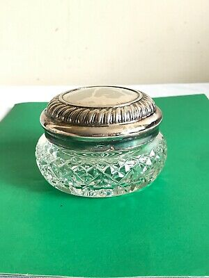 Vintage Waterford Cut Crystal Glass Silver Plated Lid Trinket Box