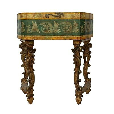 Chinese Oriental Beige Yellow Green Lacquer Flower Graphic Side Table ws463