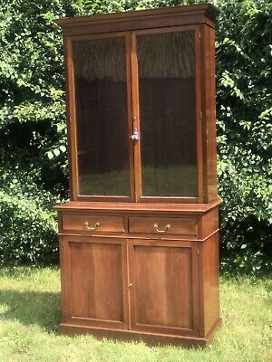 Antique Wood Glass Display Bookcase Cabinet Cupboard Bookcase Linen Key Upcycle