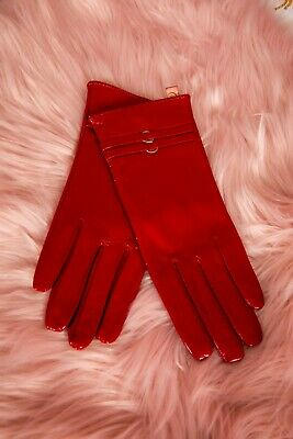 Vintage style red patent leather gloves double loop buckle size 7.5