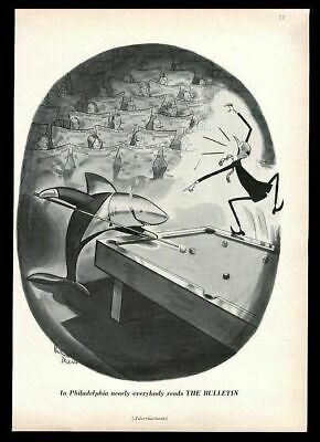 1958 pool shark cartoon by Robert Decker Philadelphia Bulletin vintage print ad