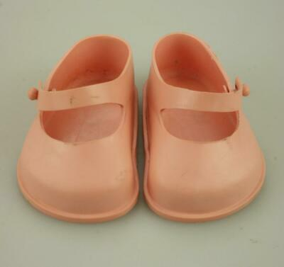 Pair of Cinderella No. 2 Pink Strap Dolls Shoes Soft Plastic Knob Closure KC479