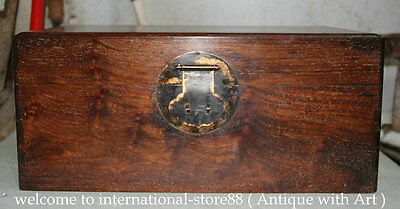 45CM Old Chinese Huanghuali Wood Palace Use Cabinet Casket Jewelry Box Case