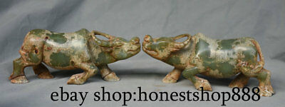 "8.8"" Chinese Old Xiu Jade Carving Dynasty Feng Shui Bull OX OXen Sculpture Pair"