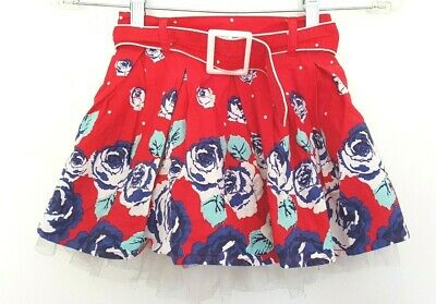 ORIGAMI Designer Baby Girls Red Floral Print Tulle Belted Skirt size 2 EUC
