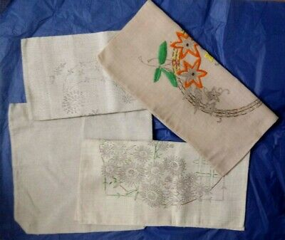 4 Vintage linen rayon cushion covers for embroidery 3 transfer printed 1 plain